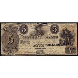 1838 $5 Mineral Point Bank Wisconsin Obsolete Note