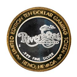 .999 Silver Riverboat Reno, NV $10 Casino Limited Edition Gaming Token