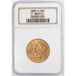 1887-S $10 Liberty Head Eagle Gold Coin NGC MS61