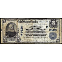 1902 PB $5 American NB of San Francisco, CA CH# 6426 National Currency Note