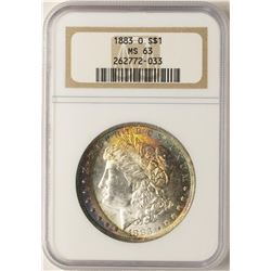 1883-O $1 Morgan Silver Dollar Coin NGC MS63 Amazing Rainbow Toning