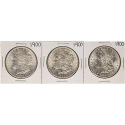 Lot of (3) 1900 $1 Morgan Silver Dollar Coins