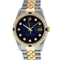 Rolex Mens Two Tone 14K Blue Vignette Diamond & Sapphire Datejust Watch