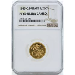 1985 Great Britain 1/2 Sovereign Gold Coin NGC PF69 Ultra Cameo