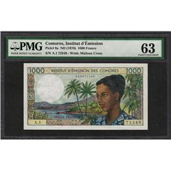 1976 Comoros Institut d'Emission 1000 Francs Currency Note PMG Choice Uncirculated 63