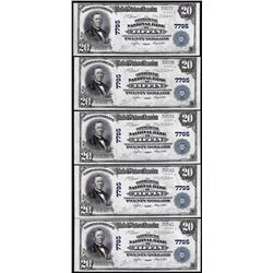 Lot of (5) Consecutive 1902PB $20 Tiffin, Ohio CH# 7795 National Currency Notes