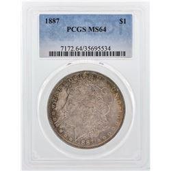 1887 $1 Morgan Silver Dollar Coin PCGS MS64 Nice Color