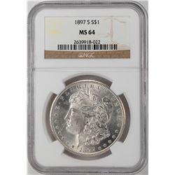 1897-S $1 Morgan Silver Dollar Coin NGC MS64