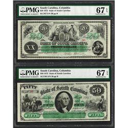 Low Serial Pair 1872 $20 & $50 South Carolina Obsolete Notes PMG Superb Gem Unc 67EPQ