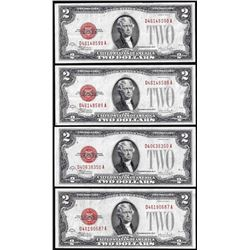Lot of (4) 1928F $2 Legal Tender Notes