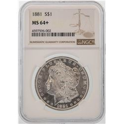 1881 $1 Morgan Silver Dollar Coin NGC MS64+