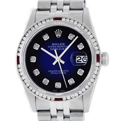 Rolex Men's Stainless Steel Blue Vignette Datejust Wristwatch w/ Diamond & Ruby Bezel