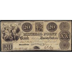 1838 $20 Mineral Point Bank Wisconsin Obsolete Note