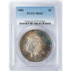 1886 $1 Morgan Silver Dollar PCGS MS63 Nice Toning