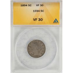 1894 Liberty V Nickel Coin ANACS VF30