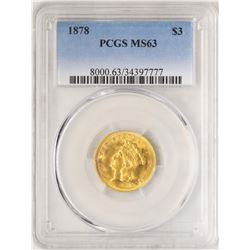 1878 $3 Indian Princess Head Gold Coin PCGS MS63