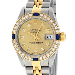 Rolex Ladies Quickset Two Tone Champagne Diamond & Sapphire Datejust Wristwatch
