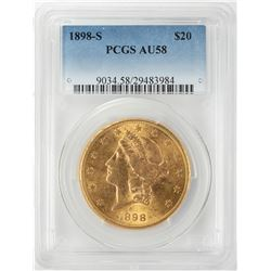 1898-S $20 Liberty Head Double Eagle Gold Coin PCGS AU58