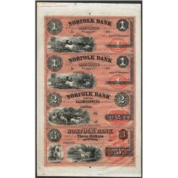 Uncut Sheet of 1800's $1/$1/$2/$3 Norfolk Bank, CT Obsolete Notes