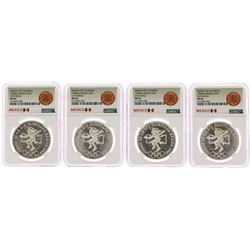 Lot of (4) 1968Mo Mexico 25 Pesos Olympics Commemorative Silver Coins NGC MS66