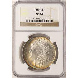 1889 $1 Morgan Silver Dollar Coin NGC MS64 Amazing Toning