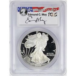 2005-W $1 American Silver Eagle Proof Coin PCGS PR69DCAM W/Edmund C. Moy Signature