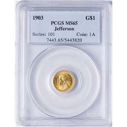1903 $1 Jefferson Louisiana Commemorative Gold Dollar Coin PCGS MS65