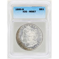 1880-S $1 Morgan Silver Dollar Coin ICG MS67