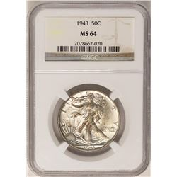 1943 Walking Liberty Half Dollar Coin NGC MS64