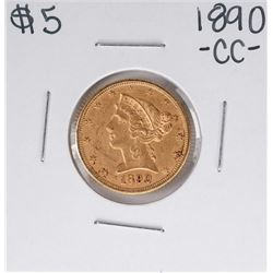 1890-CC $5 Liberty Head Half Eagle Gold Coin