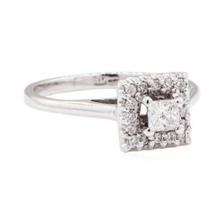 14KT White Gold 0.40 ctw Diamond Square Top Halo Ring
