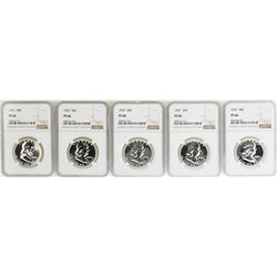 Lot of (5) 1957 Proof Franklin Half Dollar Coins NGC PF66