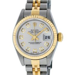 Rolex Ladies Quickset Two Tone 18K Silver Diamond Datejust Wristwatch