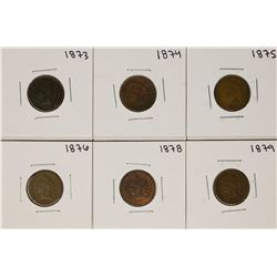 Set of 1873-1879 (No 1877) Indian Head Cent Coins