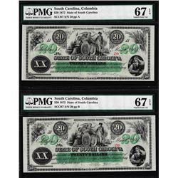 Matching Low Serial 1872 $20 South Carolina Obsolete Notes PMG Superb Gem Unc. 67EPQ
