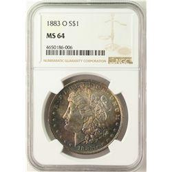1883-O $1 Morgan Silver Dollar Coin NGC MS64 AMAZING Toning
