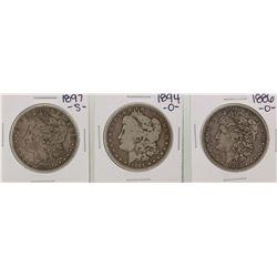 1886-O & 1894-O & 1897-S $1 Morgan Silver Dollar Coins