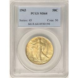 1943 Walking Liberty Half Dollar Coin PCGS MS64 Nice Toning