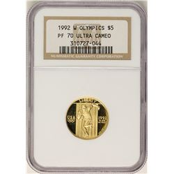 1992-W $5 Proof Olympic Commemorative Gold Coin NGC PF70 Ultra Cameo