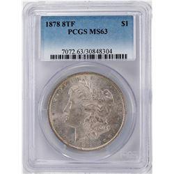 1878 8TF $1 Morgan Silver Dollar Coin PCGS MS63