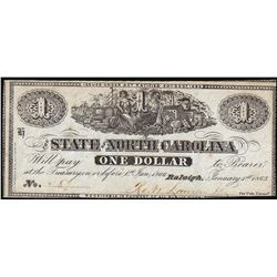 1863 $1 State of North Carolina, Raleigh Obsolete Note