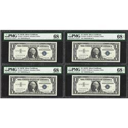 (4) Consecutive 1957B $1 Silver Certificate STAR Notes PMG Superb Gem Unc. 68PPQ