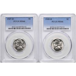 Lot of 1947-D & 1949-D Jefferson Nickel Coins PCGS MS66