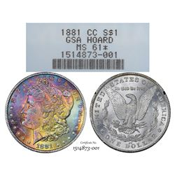 1881-CC $1 Morgan Silver Dollar Coin GSA Hoard NGC MS61 Star Amazing Toning