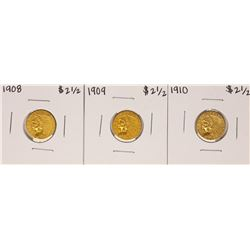 Lot of 1908-1910 $2 1/2 Indian Head Quarter Eagle Gold Coins