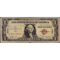 1935A $1 Hawaii WWII Emergency Issue Silver Certificate Note Signed by Bud Abbott
