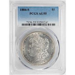 1884-S $1 Morgan Silver Dollar Coin PCGS AU55