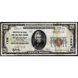 1929 $20 NB & Trust Hartford, CT CH# 1338 National Currency Note
