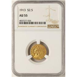 1913 $2 1/2 Indian Head Quarter Eagle Gold Coin AU55