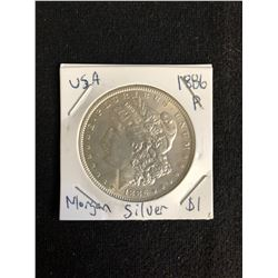 1886 U.S.A MORGAN SILVER DOLLAR (MINTED P)
